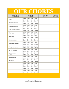 list of chores for adults